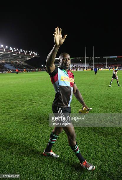 Ugo Monye waves to the crowd after his final home match for Harlequins during the Aviva Premiership match between Harlequins and Bath at the...