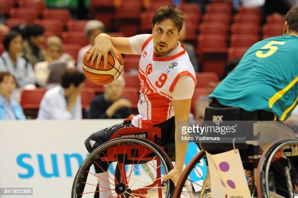 Ugur Toprak of Turkey in action during the Wheelchair Basketball World Challenge Cup match between Turkey and Australia at the Tokyo Metropolitan...