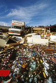 A UHaul truck sits inside Beachcomber Liquors in Port Charlotte Florida following the devastating impact of Hurricane Charley on August 13 2004