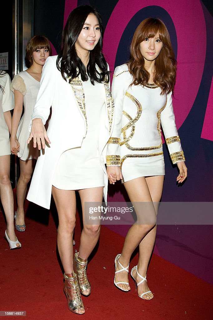 U-ie (Kim You-Jin) and Jung-A of South Korean girl group After School arrive at the 2012 SBS Korea Pop Music Festival named 'The Color Of K-Pop' at Korea University on December 29, 2012 in Seoul, South Korea.