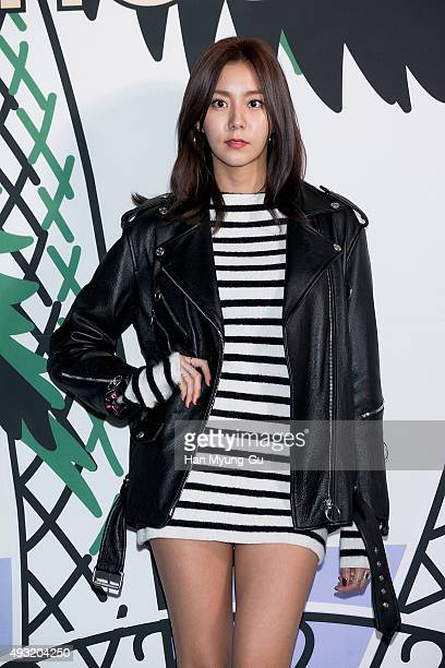 Uie of South Korean girl group After School attends the 'Lucky Chouette' 2016 S/S Collection at DDP on October 17 2015 in Seoul South Korea