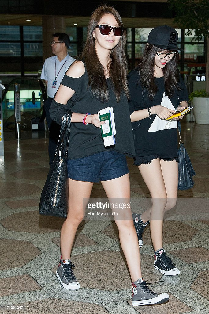U-ie (Kim You-Jin) of South Korean girl group After School is seen on departure at Gimpo International Airport on July 23, 2013 in Seoul, South Korea.