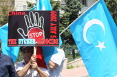 Uighurs living in Turkey protest the killings of Uighurs allegedly killed by Chinese security on July 5 2009 in China's farwestern Xinjiang Uighur...