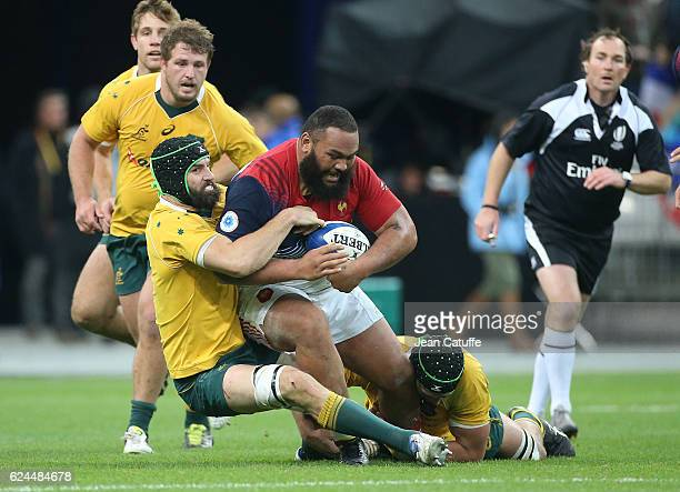 Uini Atonio of France and Scott Fardy of Australia in action during the international friendly test match between France and Australia at Stade de...