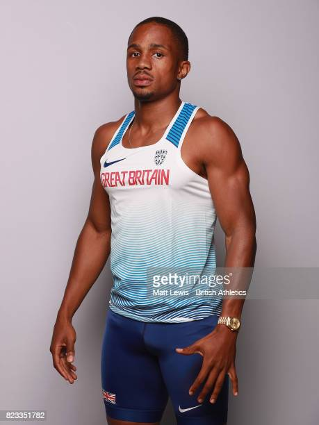 Ujah of the British Athletics team pose for a portrait during the British Athletics Team World Championships Preparation Camp on July 26 2017 The...