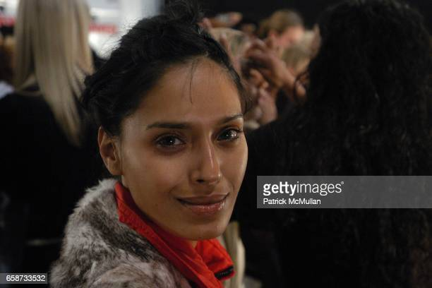 Ujjwala Raut in beauty at the Luca Luca Fashion Show at The Tent Bryant Park on February 8 2004 in New York City
