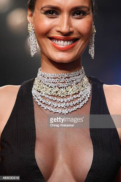 Ujjwala Raut walks the runway at the Diosa in association with Swarovski Gemstones show during Day 4 of the India International Jewellery Week at the...