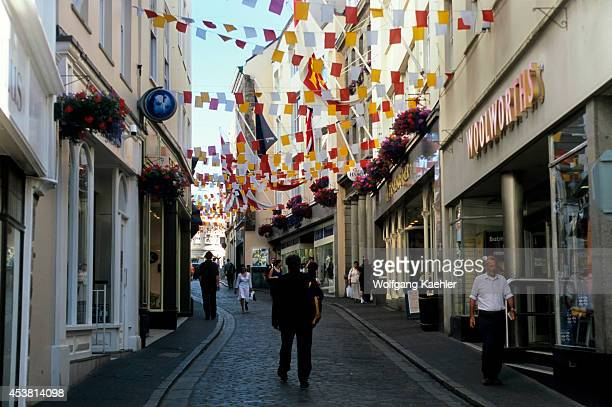 Uk Channel Islands Guernsey St Peter Port Shopping Street