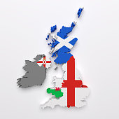 3d rendering of all the United Kingdom countries maps and flags