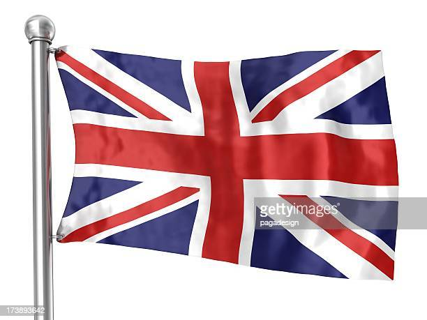 uk flag waving on white background
