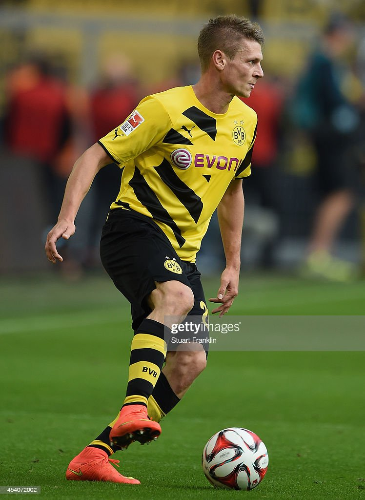 ukasz Piszczek of Dortmund in action during the Bundesliga match between Borussia Dortmund and Bayer 04 Leverkusen at Signal Iduna Park on August 23, 2014 in Dortmund, Germany.