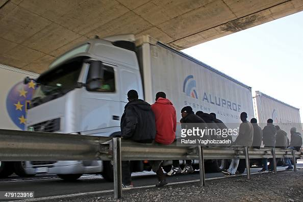 UKbound truck drivers wait to enter the channel tunnel on July 1 2015 in Calais France Crosschannel travel has be disrupted for a third day this week...