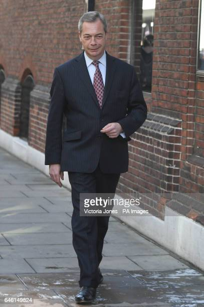 Ukip former leader Nigel Farage arriving for a press conference in central London with Owen Paterson where they launched a paper on the impact of...
