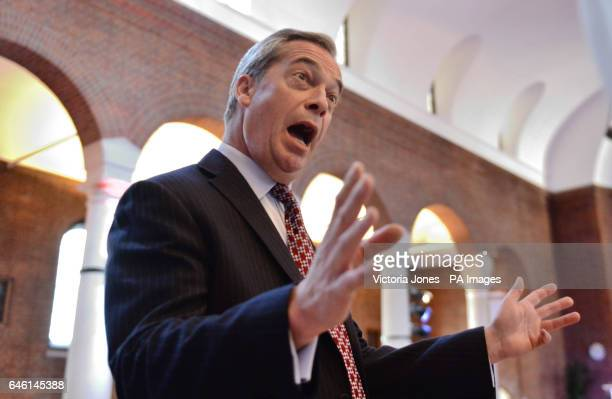 Ukip former leader Nigel Farage during a press conference in central London with Owen Paterson where they launched a paper on the impact of Brexit on...