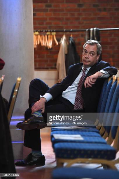 Ukip former leader Nigel Farage sits at the back of a press conference in central London as Owen Paterson launches a paper on the impact of Brexit on...