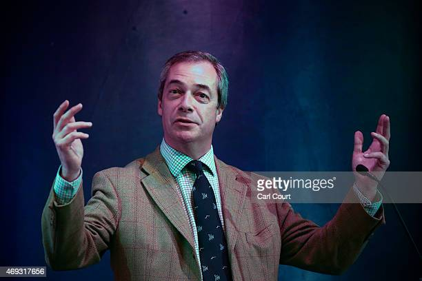 Ukip leader Nigel Farage addresses supporters and members of the media on April 11 2015 in Margate England After earlier canvassing in nearby...