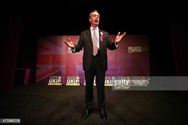 Ukip leader Nigel Farage addresses supporters during his final rally before the general election on May 6 2015 in Ramsgate England Mr Farage is...