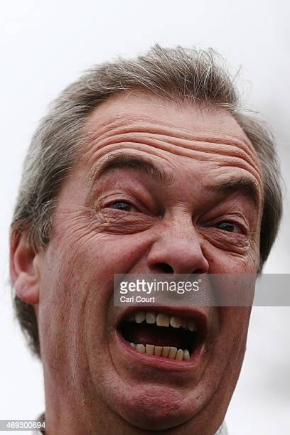 Ukip leader Nigel Farage canvasses in the Thanet South constituency on April 11 2015 in Broadstairs England The party leader asked for help...