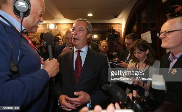 Ukip leader Nigel Farage during the Newark byelection count at Kelham Hall Newark