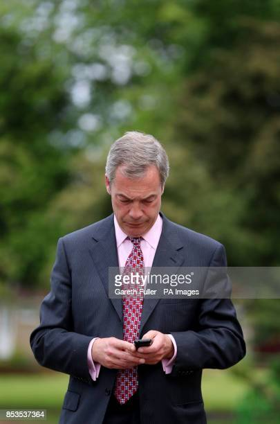 Ukip party leader Nigel Farage during a visit to Basildon Essex as his party make gains across the country following yesterdays voting in local...