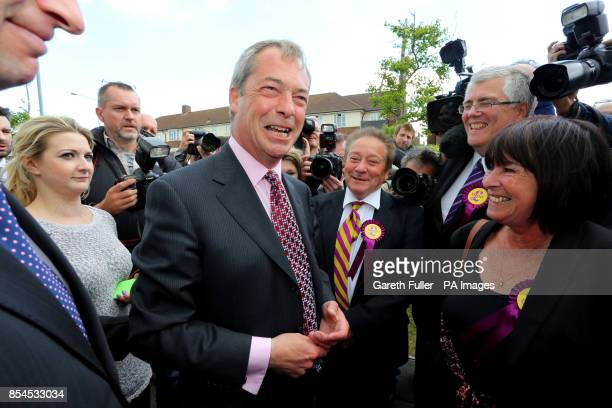 Ukip party leader Nigel Farage meets his new councilors during a visit to South Ockendon Essex as his party make gains across the country following...