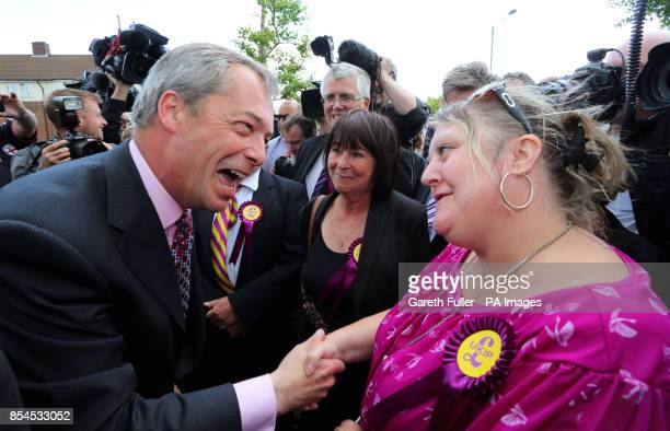 Ukip party leader Nigel Farage meets supporters during a visit to South Ockendon Essex as his party make gains across the country following...