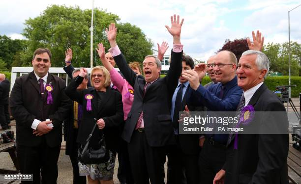 Ukip party leader Nigel Farage with his new councilors during a visit to Basildon Essex as his party make gains across the country following...