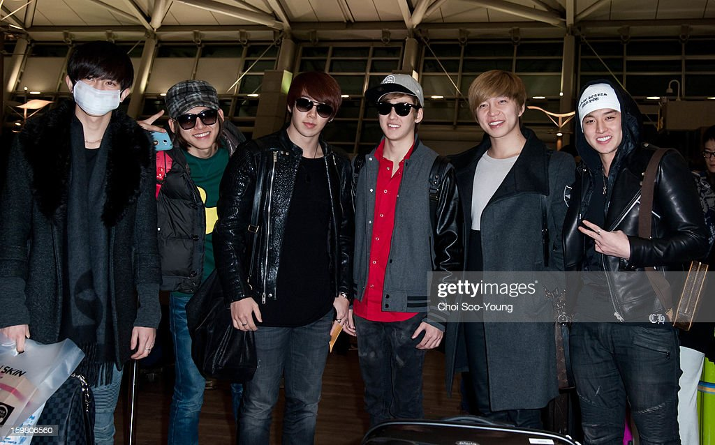 U-Kiss is seen at Incheon International Airport on January 18, 2013 in Incheon, South Korea.