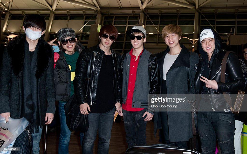 U-Kiss is seen at Incheon International Airport on January 18, 2013 in Incheon, South Korea.