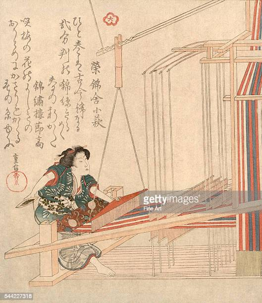 Ukiyoe print featuring a woman working an early nineteenth century Japanese loom Woodblock print mid19th century