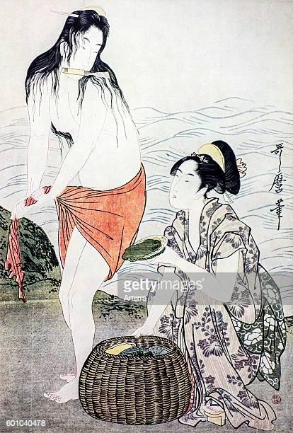 Ukiyoe woodblock print of The Awabi Fishers by Japanese artist Kitagawa Utamaro Japan