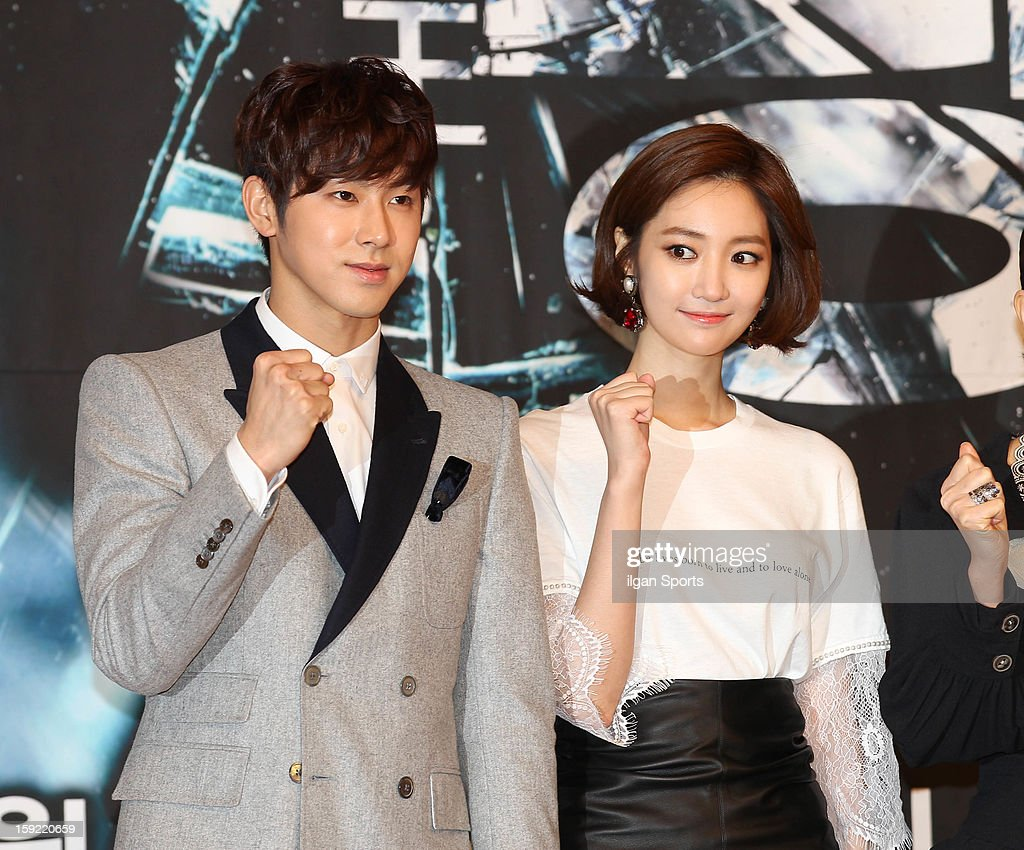 U-Know and Koh Joon-Hee attend the SBS Drama 'Yawang' press conference at SBS Building on January 9, 2013 in Seoul, South Korea.