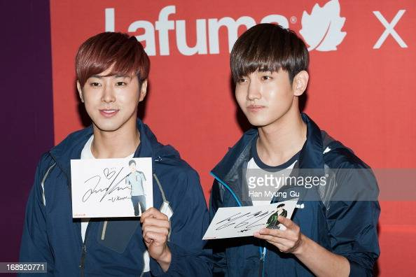 UKnow and Max of South Korean boy band TVXQ attend the autograph session for 'Lafuma' on May 16 2013 in Seoul South Korea
