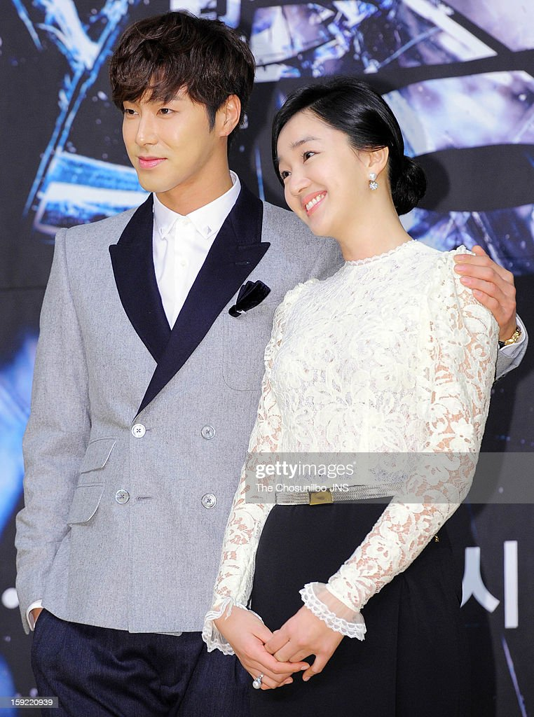U-Know and Suae attend the SBS Drama 'Yawang' press conference at SBS Building on January 9, 2013 in Seoul, South Korea.