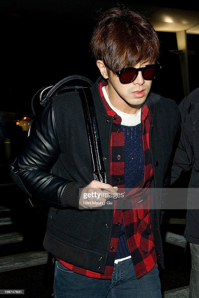 U-Know of South Korean boy band TVXQ (Tohoshinki) is seen at Incheon International Airport on January 19, 2013 in Incheon, South Korea.