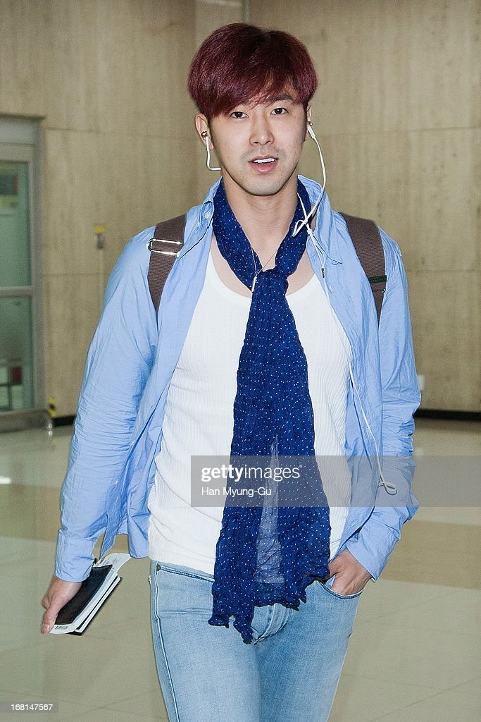 UKnow of South Korean boy band TVXQ is seen upon arrival at Gimpo International Airport on May 6 2013 in Seoul South Korea