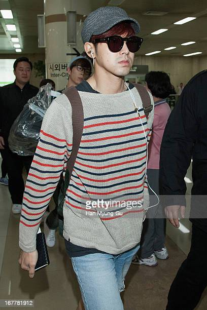 Know of South Korean boy band TVXQ is seen upon arrival from Japan at Gimpo International Airport on April 30 2013 in Seoul South Korea
