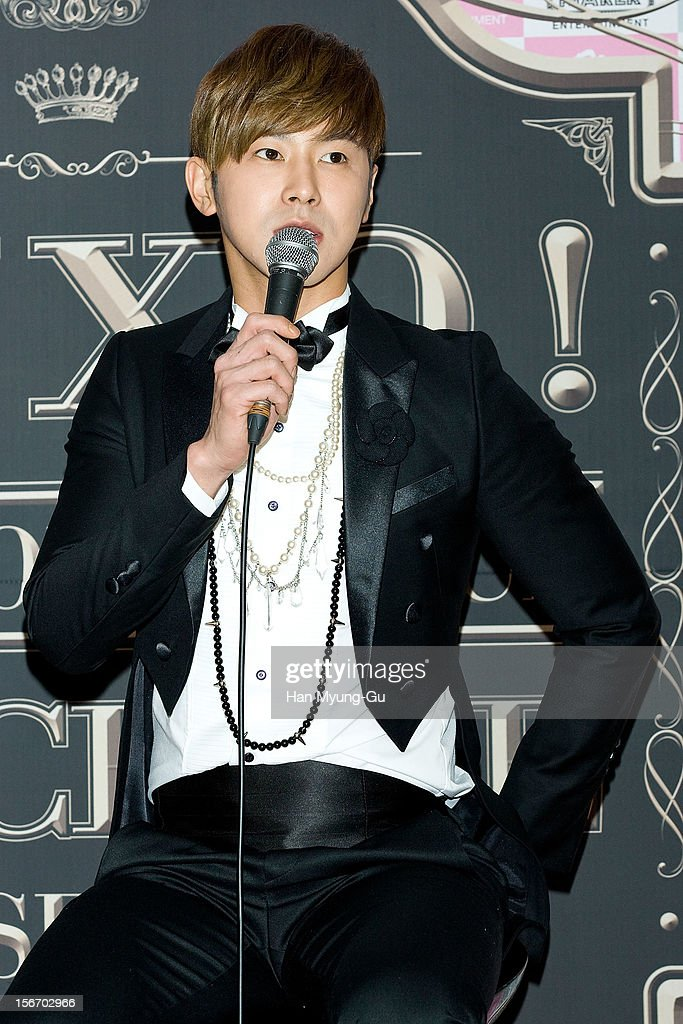 <a gi-track='captionPersonalityLinkClicked' href=/galleries/search?phrase=U-Know&family=editorial&specificpeople=8263253 ng-click='$event.stopPropagation()'>U-Know</a> of South Korean boy band TVXQ speaks during a press conference before their World Tour concert 'Catch Me' at the Olympic Gymnasium on November 18, 2012 in Seoul, South Korea.
