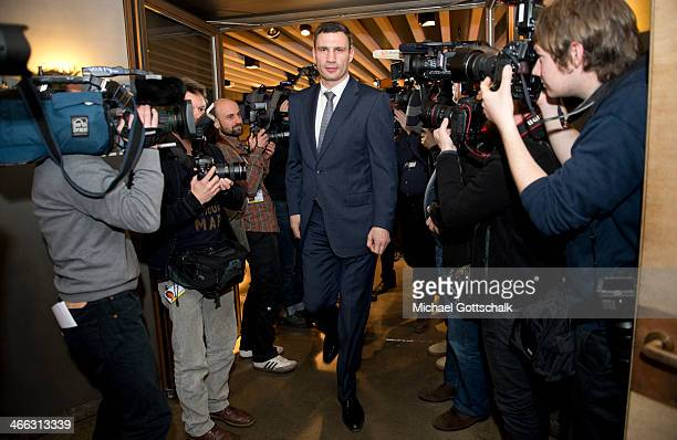 Ukrain Politican Vitali Klitschko arrives for a meeting with German Foreign Minister FrankWalter Steinmeier at the 50th Munich Security Conference on...
