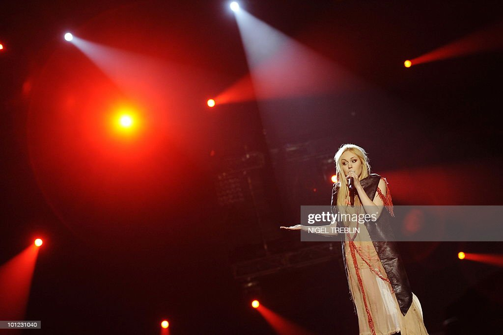 Ukrainan singer Alyosha performs on stage during a dress rehearsal at the Telenor Arena in Olso, Norway on May 28, 2010. Alyosha is representing Ukraine in the 55th Eurovision Song Contest final will take place on May 29.