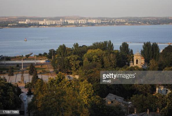 Ukraine Autonomous Republc of Crimea Kerch The Kerch Strait which connects the Sea of 'AAzov with the Black Sea and the Byzantine Church of St John...