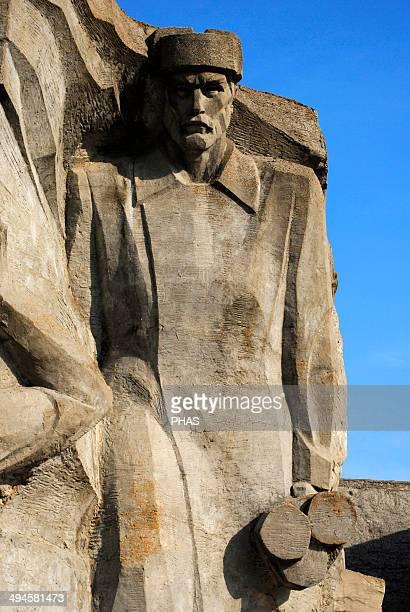 Ukraine Autonomous Republic of Crimea Memorial to the Defence of the Adzhimushkay Quarry against Nazi occupation in 1942 Detail Around Kerch