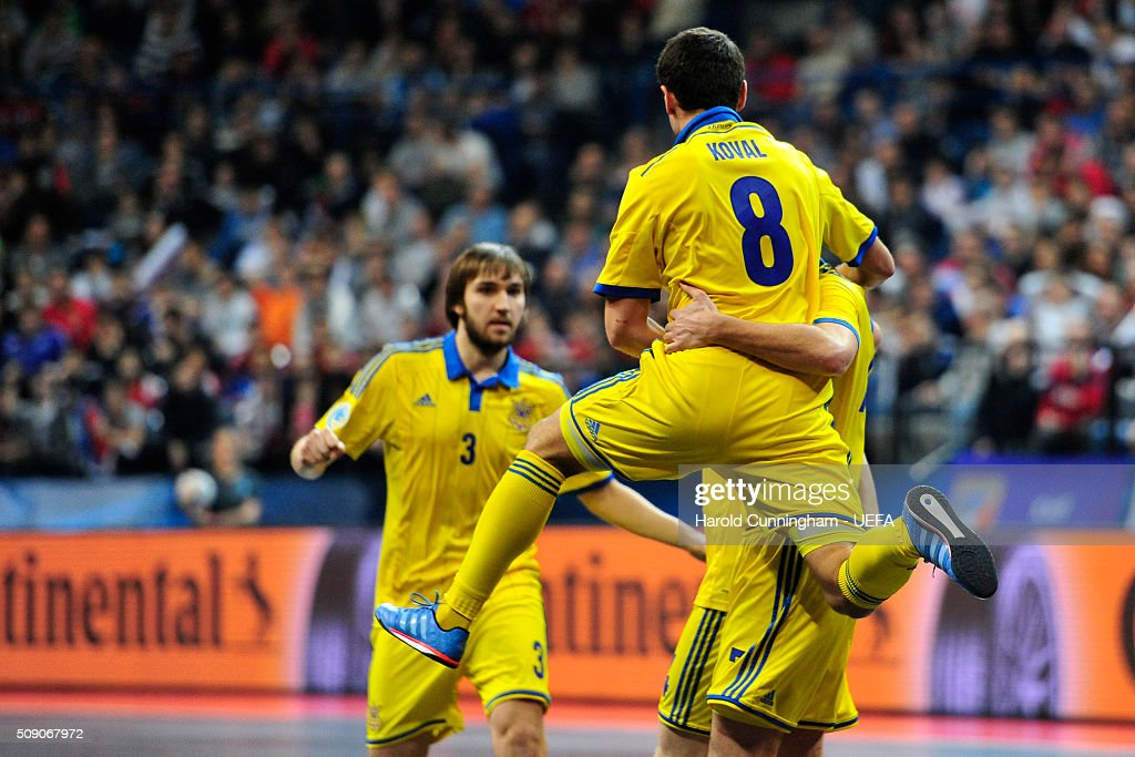 Ukraine celebrate scoring their first goal during the UEFA Futsal EURO 2016 quarter final match between Serbia and Ukraine at Arena Belgrade on February 8, 2016 in Belgrade, Serbia.