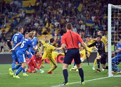 Ukraine goalkeeper Andriy Pyatov leaps to block a score from Slovakia on September 8 2014 during a UEFA Euro 2016 qualifying football match in Kiev...