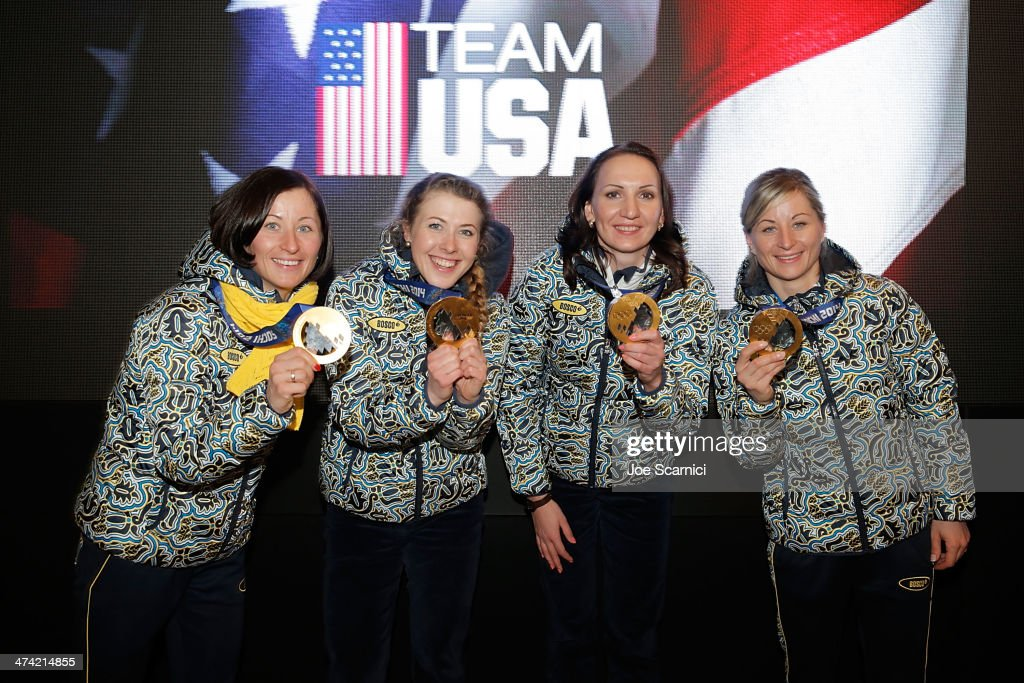 Ukraine Olympians <a gi-track='captionPersonalityLinkClicked' href=/galleries/search?phrase=Vita+Semerenko&family=editorial&specificpeople=4894891 ng-click='$event.stopPropagation()'>Vita Semerenko</a>, <a gi-track='captionPersonalityLinkClicked' href=/galleries/search?phrase=Juliya+Dzhyma&family=editorial&specificpeople=10101687 ng-click='$event.stopPropagation()'>Juliya Dzhyma</a>, <a gi-track='captionPersonalityLinkClicked' href=/galleries/search?phrase=Olena+Pidhrushna&family=editorial&specificpeople=6567208 ng-click='$event.stopPropagation()'>Olena Pidhrushna</a> and Valj Semerenko visit the USA House in the Olympic Village on February 22, 2014 in Sochi, Russia.