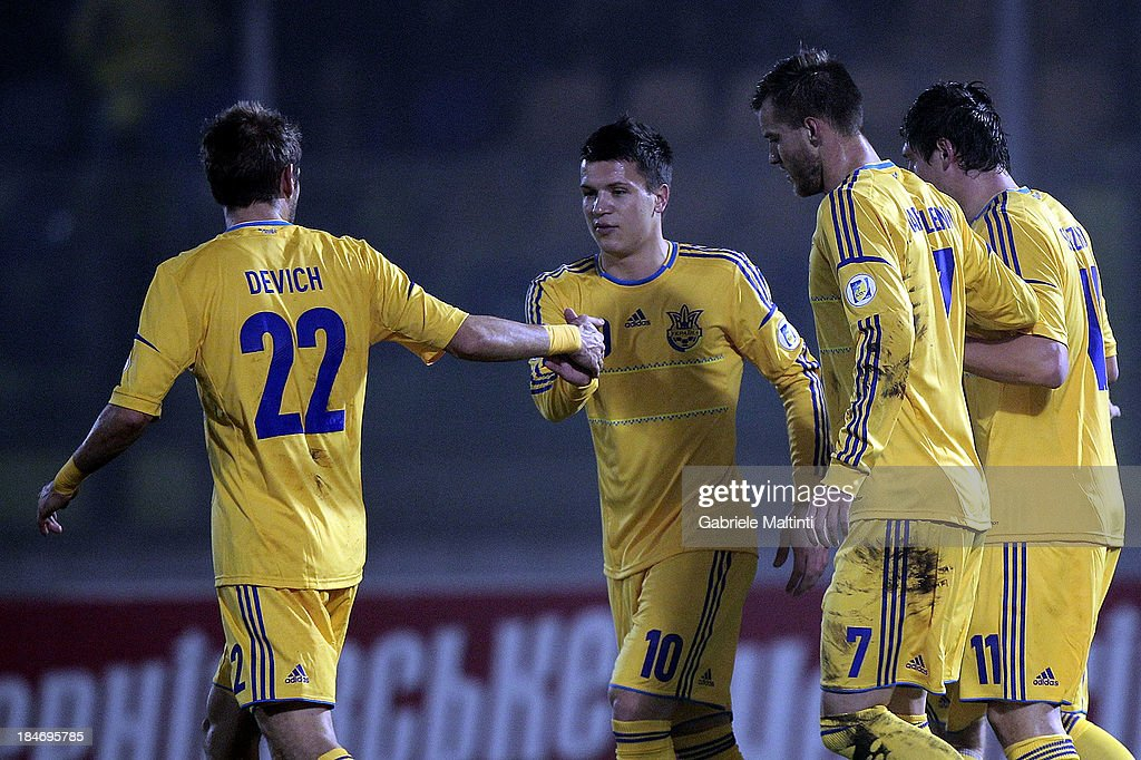 Ukraine players celebrate a goal scored by Marko Devich #22 during the FIFA 2014 World Cup Qualifier Group H match between San Marino and Ukraine at Serravalle Stadium on October 15, 2013 in Serravalle, Italy.