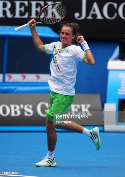 Ukraine's Alexandr Dolgopolov celebrates beating Sweden's Robin Soderling during day eight of the 2011 Australian Open at Melbourne Park in Melbourne...