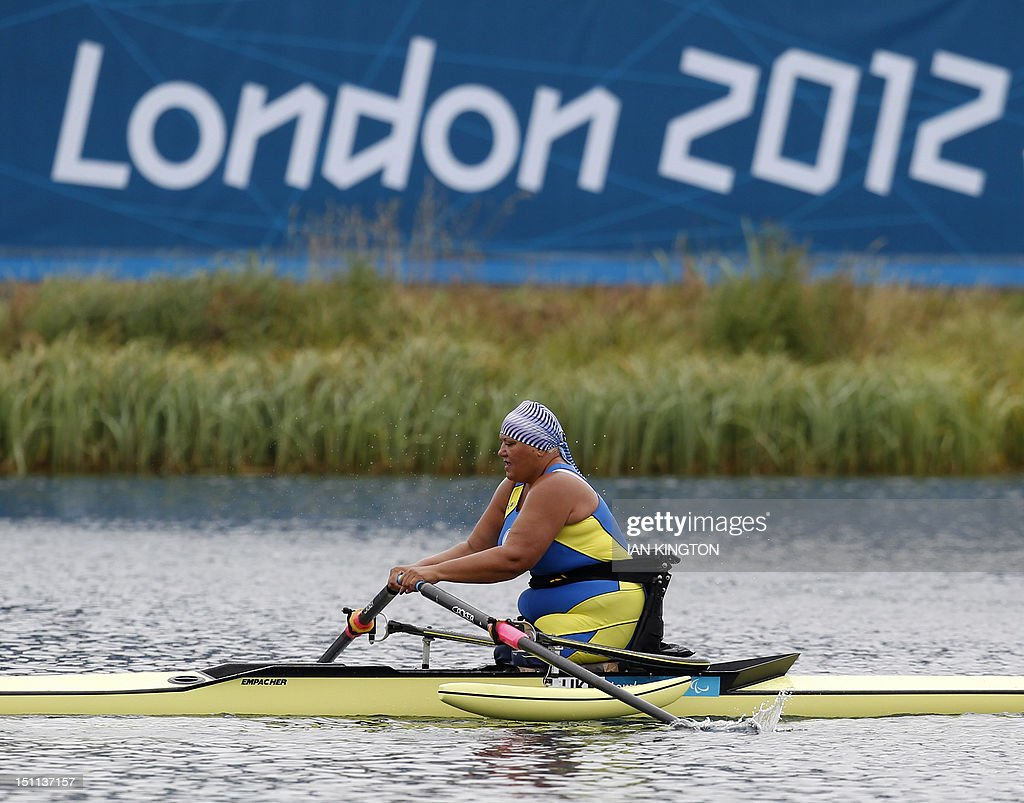 Ukraine's Alla Lysenko competes in the AS women single sculls Final A during the London 2012 Paralympic Games in Eton Dorney on September 2, 2012.