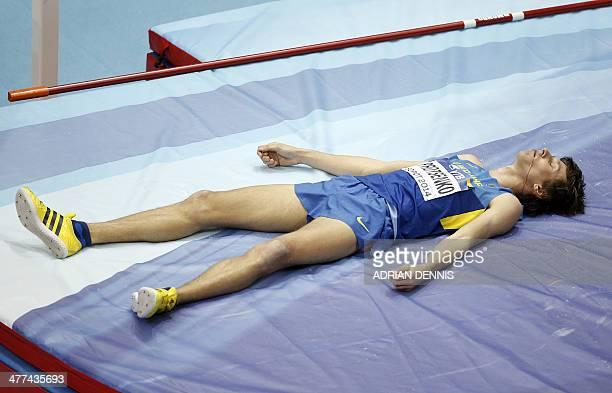 Ukraine's Andriy Protsenko reacts after the men High Jump Final event at the IAAF World Indoor Athletics Championships in the Ergo Arena in the...