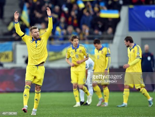 Ukraine's Andriy Yarmolenko celebrates after scoring against Slovenia in the Euro 2016 playoff football match between Ukraine and Slovenia at the...